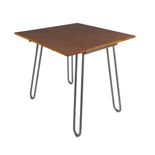 parikh drop leaf dining table with hairpin legs - Square Wood Dining Table