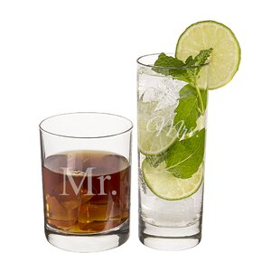 2 Piece Mr. and Mrs. Cocktail Set