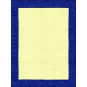 Degen Modern Hand Tufted Wool Navy Blue/Yellow Area Rug