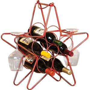 Rustic Star 5 Bottle Tabletop Wine Rack b..