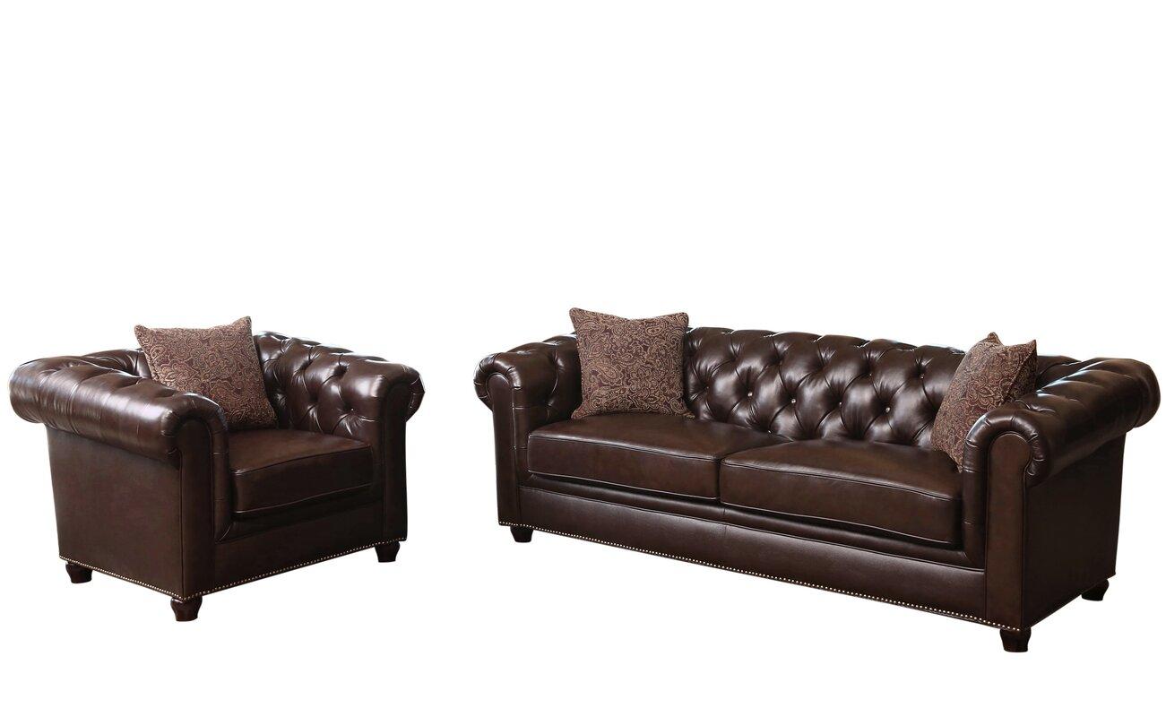 Mitchem 2 Piece Leather Living Room Set Reviews Birch Lane
