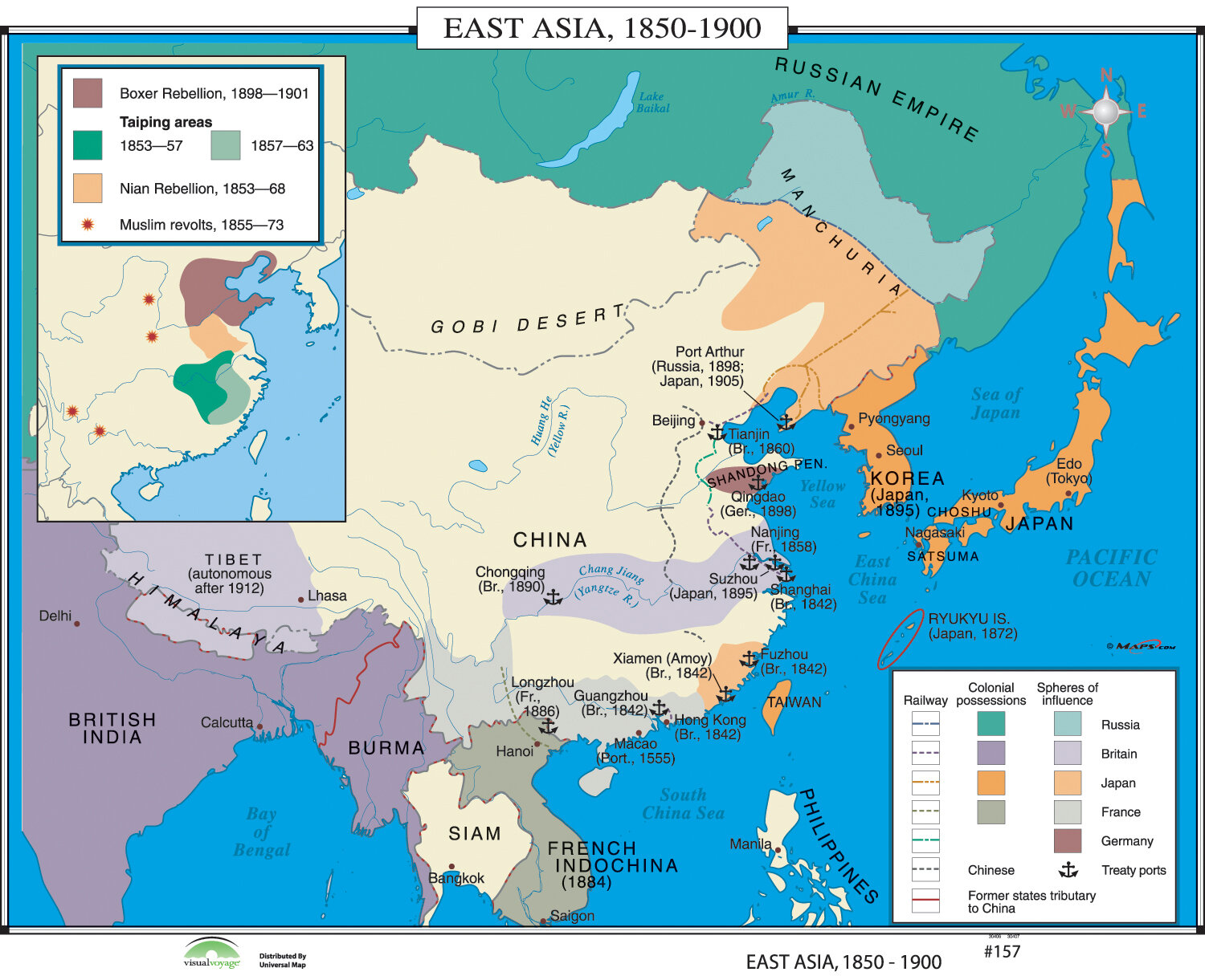 Universal Map World History Wall Maps - East Asia 1850-1900 | Wayfair.ca