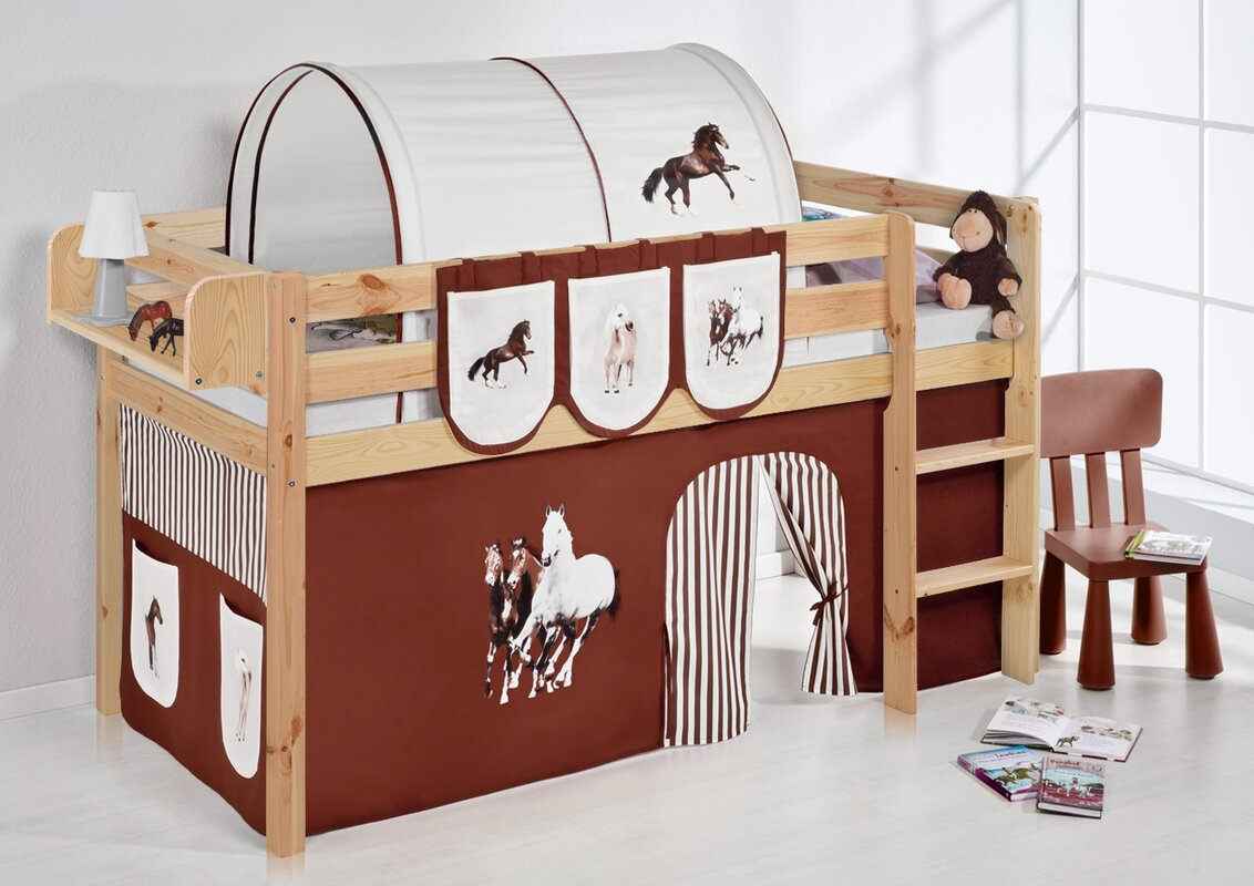 lilokids hochbett pferde mit vorhang 90 x 200 cm. Black Bedroom Furniture Sets. Home Design Ideas