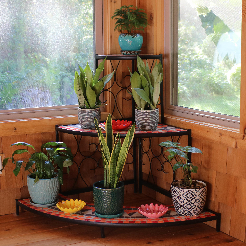 Fleur De Lis Living Manningtree 3 Tier Step Style Mosaic Tiled Indoor Outdoor Corner Display Shelf Plant Stand Reviews Wayfair