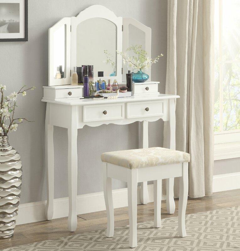 vanity desk. Sanlo Wooden Vanity Set with Mirror Makeup Tables and Vanities You ll Love  Wayfair