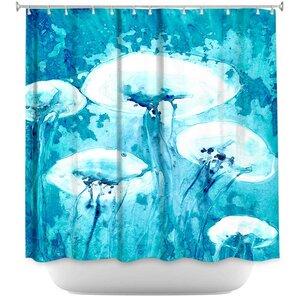 luminous jelly fish shower curtain