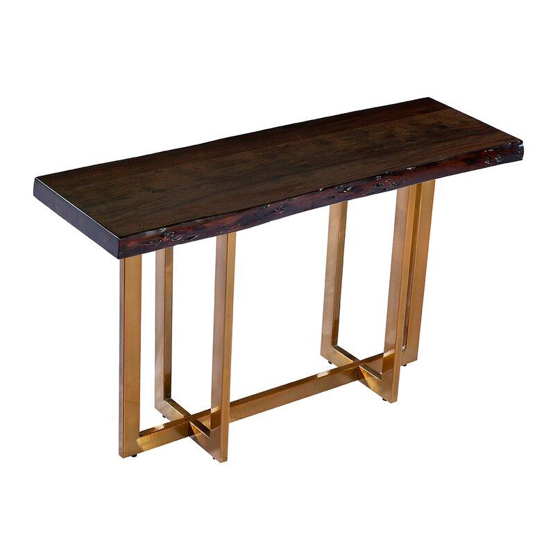 Bertram Modern Acacia Wood Top Console Table