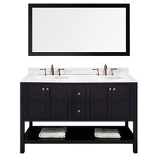 "Kuiper 60"" Double Bathroom Vanity Set with White Carrara Top and Mirror"