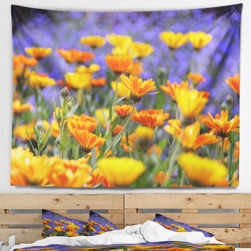 Floral Yellow Orange Flower Garden Tapestry And Wall Hanging