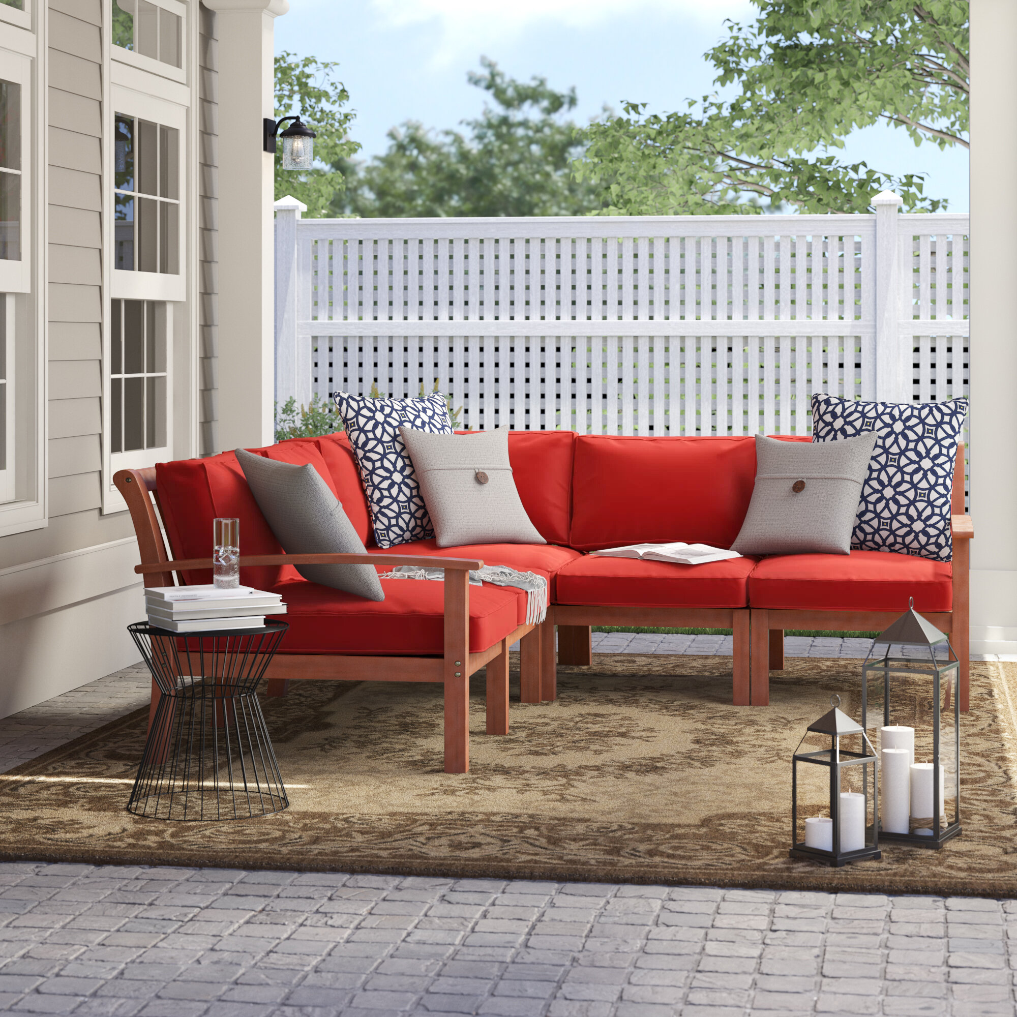 Birch Lane & Rossi Patio Sectional with Cushions