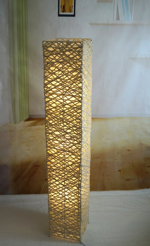 Californialighting rectangle bamboo woven 52 led column floor lamp rectangle bamboo woven 52 led column floor lamp mozeypictures Gallery