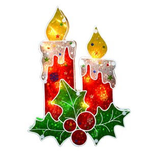 holographic berry candle christmas window lighting display - Christmas Candles For Windows
