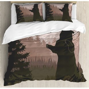 Nature Silhouette Of Wild Bear In Jungle Woodland At Dark Night Animal Ilration Duvet Cover Set