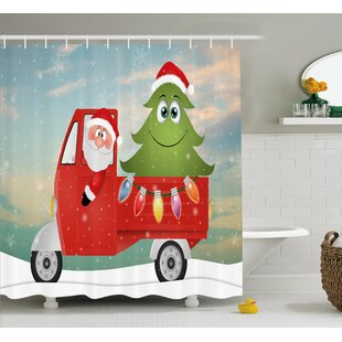 Christmas Santa On The Car Shower Curtain