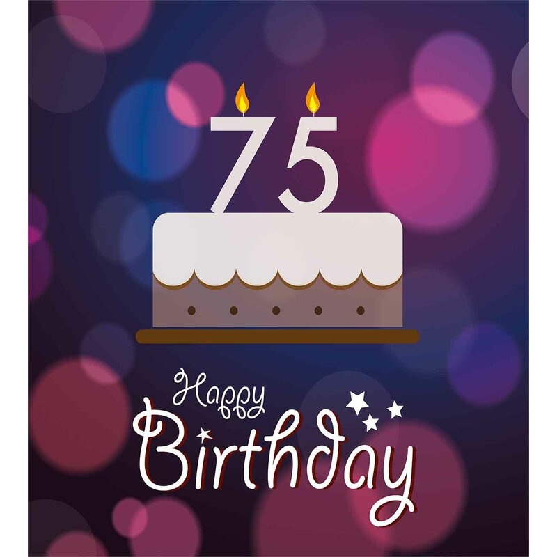 75th Birthday Decorations Abstract Artistic Background With Graphic Cake Candles Duvet Cover Set