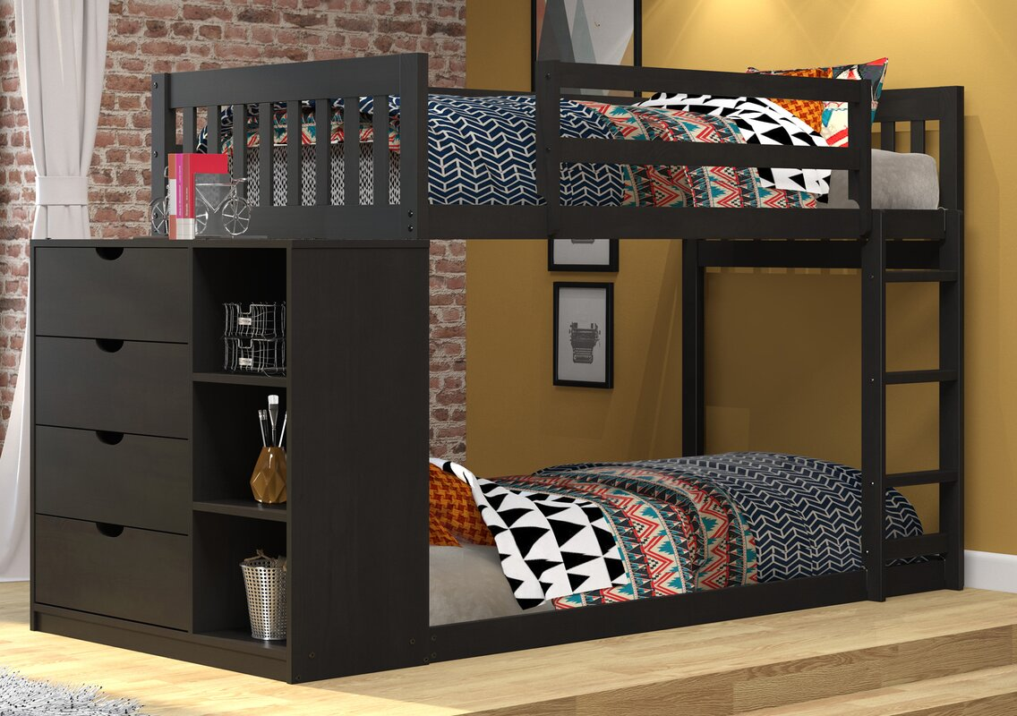 Twin Bunk Beds With Storage Part - 31: Mission Twin Over Twin Bunk Bed With Chest And Storage