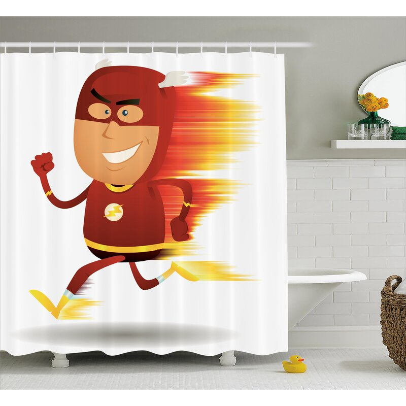 Superhero Bolt Man With Lghts Shower Curtain