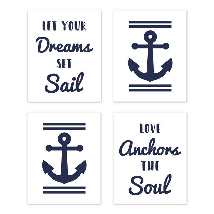 Anchors Away Art Paper Print (Set of 4)