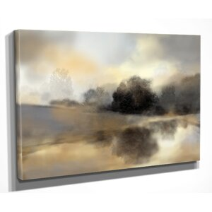 'Misty Pond' by Nan Painting Print on Wrapped Canvas