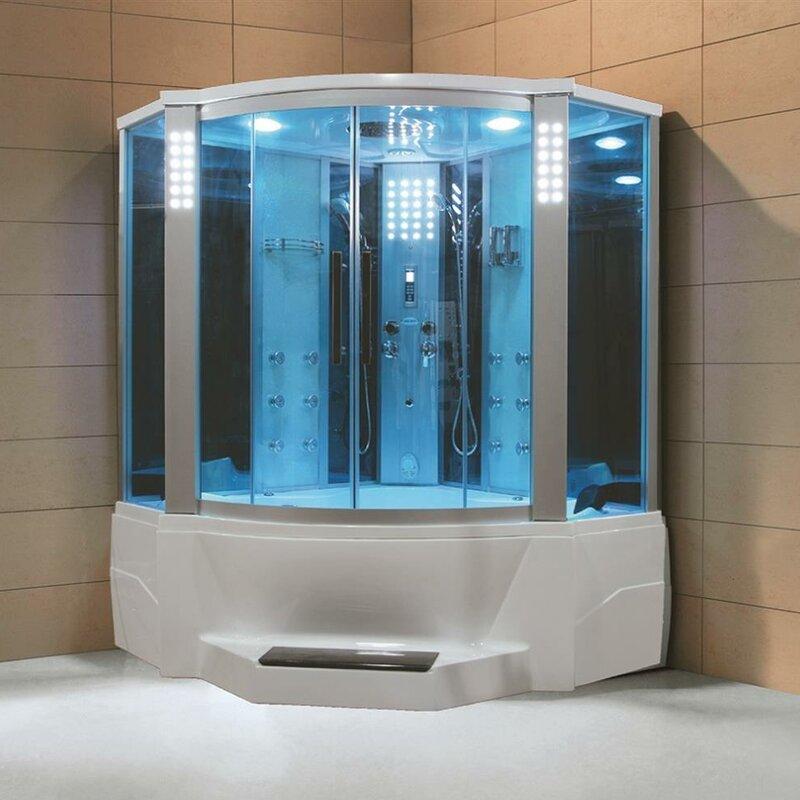 Eagle Bath Steam Shower.Eagle Bath 66 X 86 6 Neo Angle Sliding Steam Shower With Base