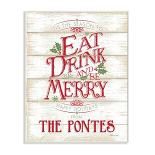 Personalized Eat Drink Be Merry Holiday Textual Art On Plaque