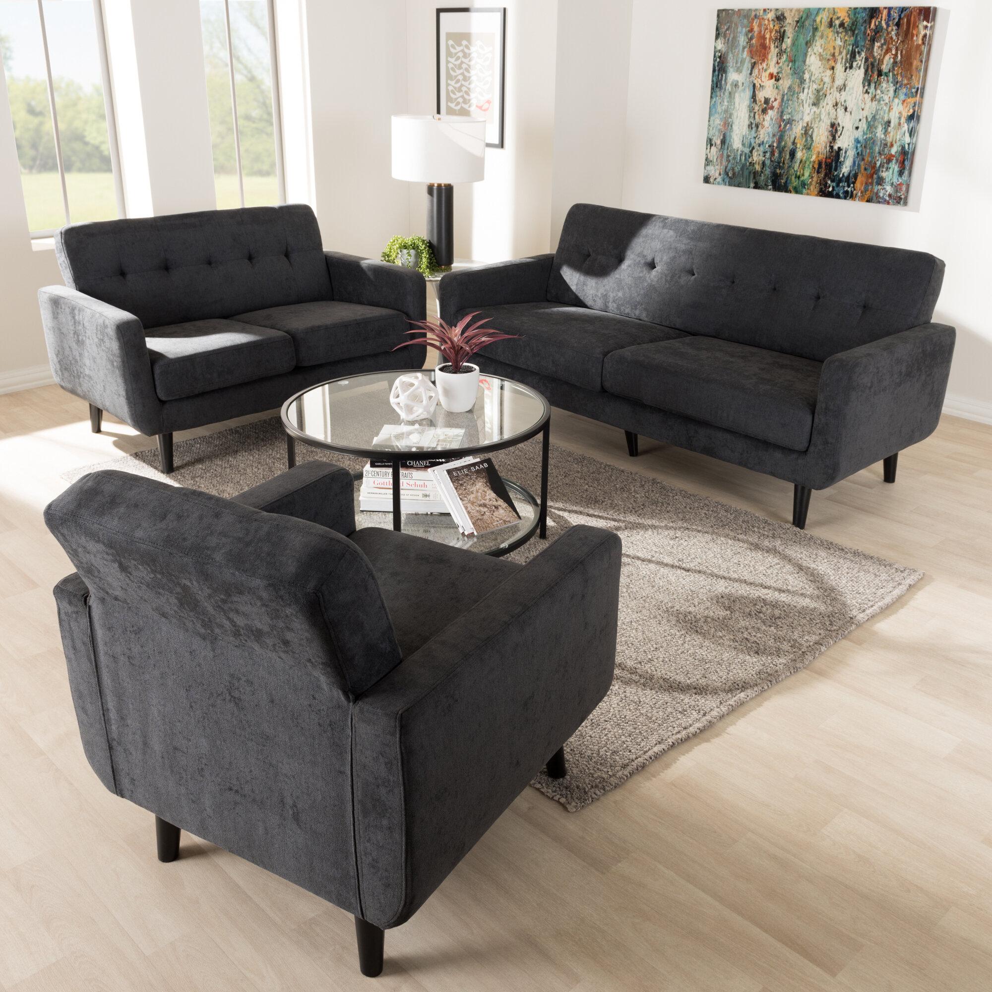George Oliver Ripton Mid Century Modern Coffee Table: George Oliver Doty Mid Century Modern Upholstered 3 Piece