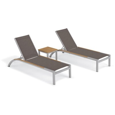 Brayden Studio Saint-Pierre 3 Piece Reclining Chaise Lounge with Table Color: Cocoa