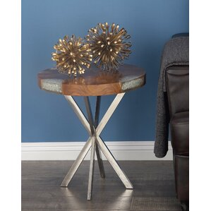 Teak/Stainless Steel End Table by Cole & Grey