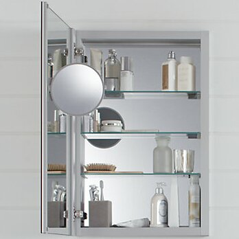 Verdera Aluminum Medicine Cabinet With Adjustable Flip Out Mirror, ...
