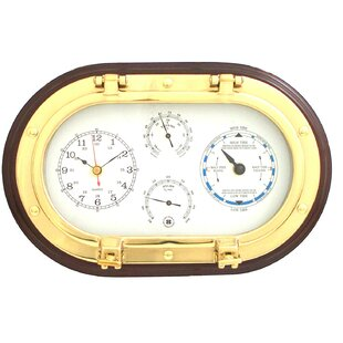 "Donahue 12"" Porthole Wall Clock,Tide Clock,Thermometer, and Hygrometer"