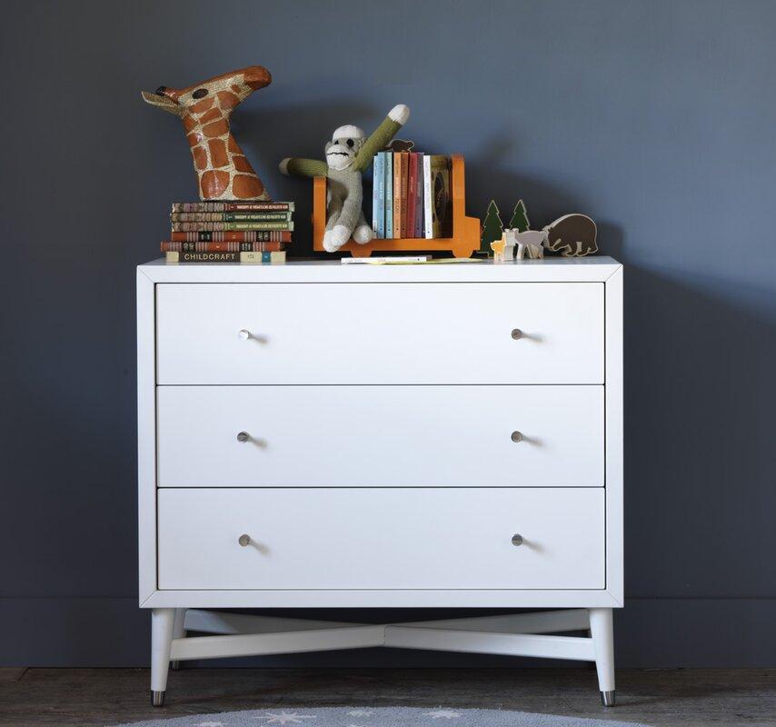 mid century 3 drawer french white dresser reviews allmodern. Black Bedroom Furniture Sets. Home Design Ideas
