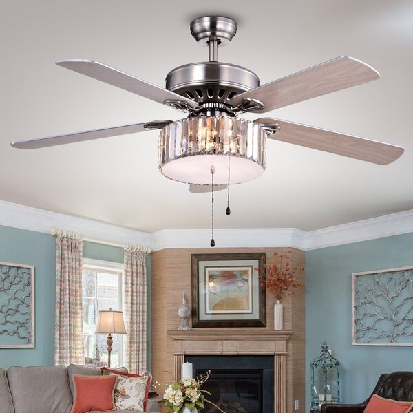 Ceiling fan with crystal light wayfair