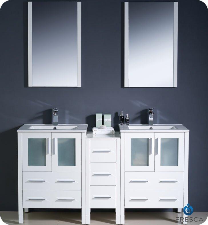 "Bathroom Vanity Hutch fresca torino 60"" double modern sink bathroom vanity set with"