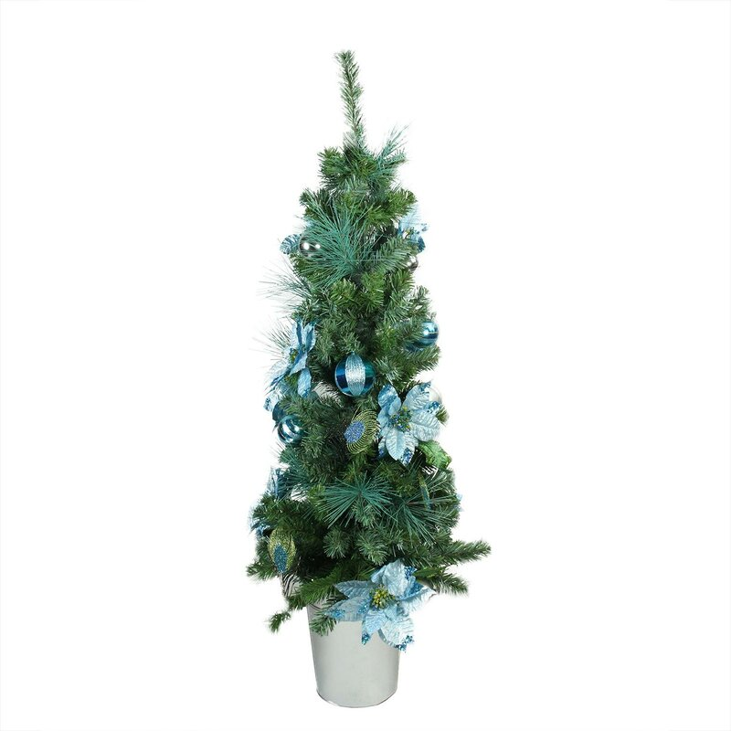 pre decorated peacock blue and silver potted 4 green artificial christmas tree - Pre Decorated Artificial Christmas Trees
