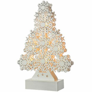 Pre-Lit Snowflake Christmas Tree Wood Table Decoration