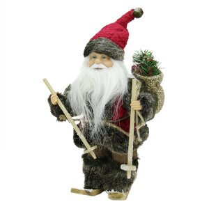 Country Rustic Skiing Santa Claus Christmas Figure with Gift Bag
