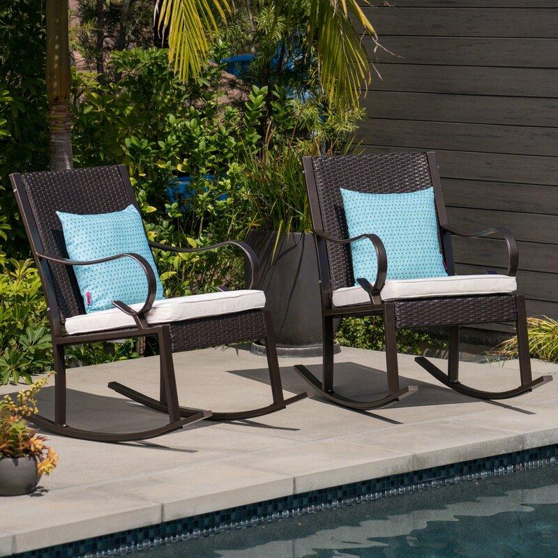August Grove Kampmann Outdoor Wicker Rocking Chair With Cushions Reviews Wayfair