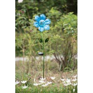 Captivating Glass Flower LED Solar Garden Stake