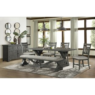 Tandy 6 Piece Solid Wood Breakfast Nook Dining Set