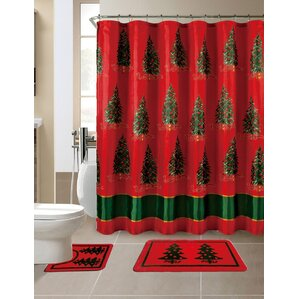 15 Piece Christmas Printed Shower Curtain Set