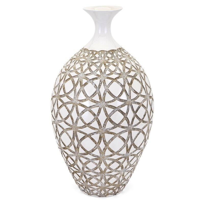 Mistana Tall Ivory Earthenware Floor Vase Reviews Wayfair