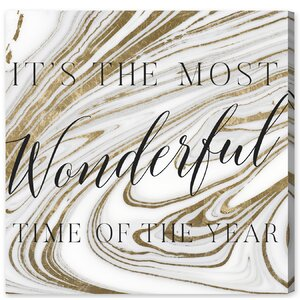 Wonderful Time Marble Textual Art onu00a0Wrapped Canvas