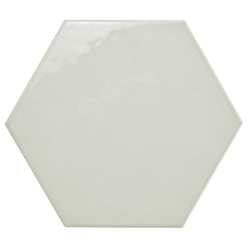 Elitetile Hexitile 7 X 8 Porcelain Ceramictile In Glossy Gray