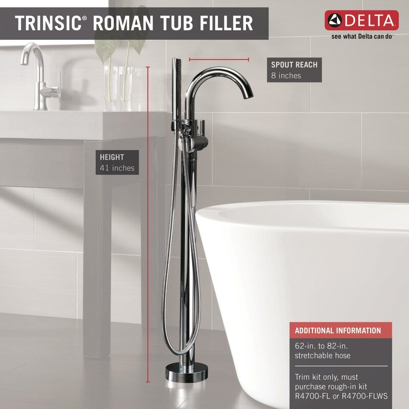 Trinsic® Single Handle Floor Mount Freestanding Tub Filler With Hand Shower