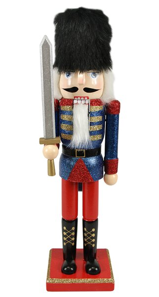 The holiday aisle decorative wooden glittered christmas for Floor nutcracker