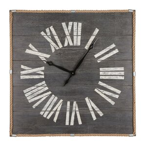 oversized square real wood wall clock