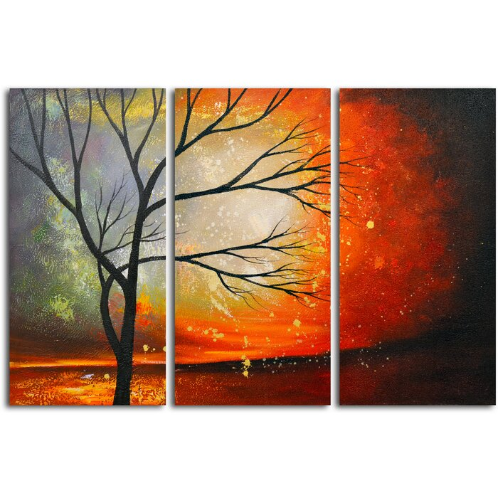 Tree In The Blazing Sun 3 Piece Painting On Canvas Set