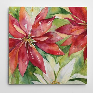 'Watercolor Poinsettia' Painting Print on Wrapped Canvas