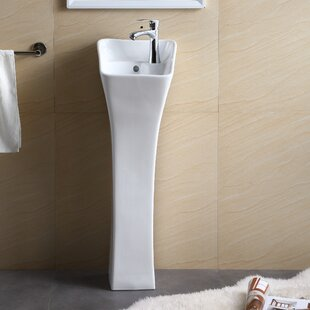 Vitreous China Rectangular Pedestal Bathroom Sink