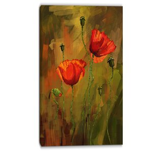 Poppy flower wall art wayfair poppy flowers painting print on wrapped canvas mightylinksfo